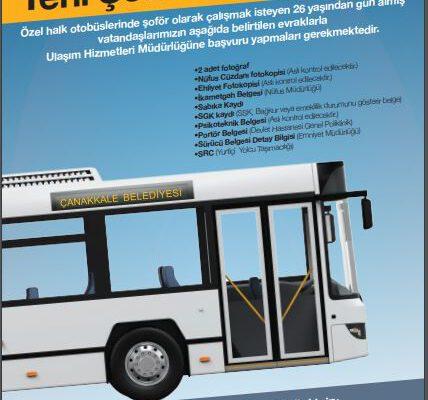 Özel Halk Otobüslerinde çalışacak şoför adayları için sınav tertip edilecektir.